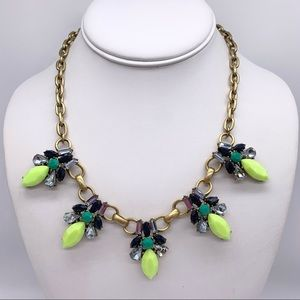 J. Crew Yellow Blue Green Jeweled Necklace